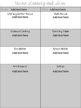 Theme Planning Pages for Preschool (Editable)