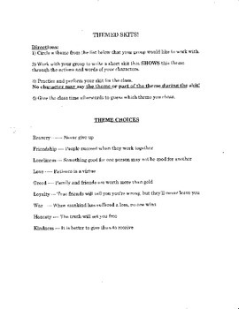 Theme Practice Activities - Grades 4,5,6,7,8