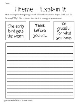 Theme Practice Packet - Be Grateful for What You Have