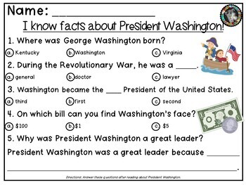 """Theme - Presidents' Day - """"Presidents are Learners Just Like Me!"""""""