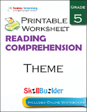 Theme Printable Worksheet, Grade 5