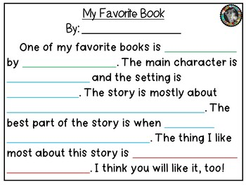 """Theme - Read Across America/ Opinion Writing - """"Your Favorite Book"""""""