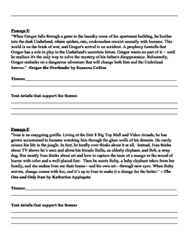 Theme Reading Passages Theme Number 2 Find the Theme of the Book Summaries
