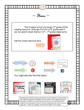 Free Theme Resource Reading Literature 4.2 & 5.2 by Peas in a Pod