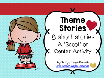 Theme Scoot or Center Activity with 8 Stories- Elementary
