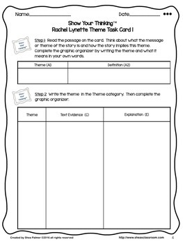 Theme Constructed Response Practice- Show Your Thinking™/R.L.  Cards 1-8