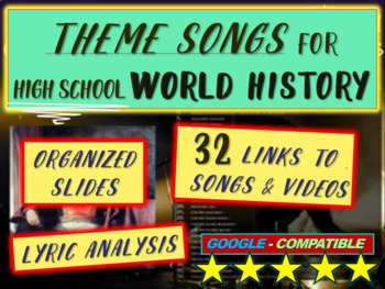 Theme Song for each week of high school world history: inc