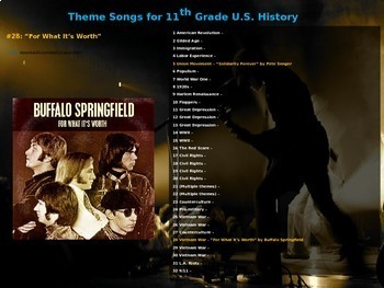 Theme Song for each week of 11th grade US history: includes lyrics & hyperlinks