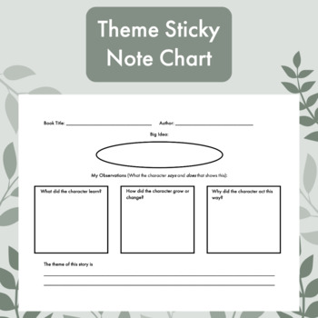 Theme Sticky Note Graphic Organizer