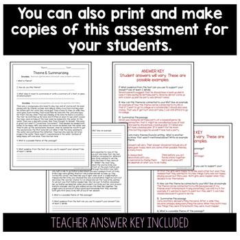 Theme and Summarizing Assessment