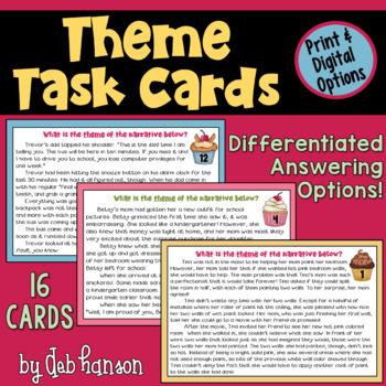themes in literature task cards by deb hanson teachers pay teachers