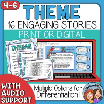 Theme Task Cards with Short Stories and Differentiated ...