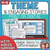 Theme Task Cards and Google Slides - Reading Differentiation - with Audio files