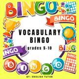 TASK CARD VOCABULARY BINGO GAME for grades 5th - 10th
