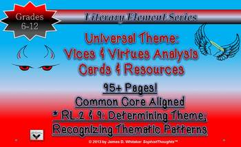 Theme Teaching Unviversal Theme Vices & Virtues Analysis Cards Common Core