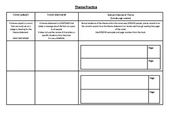 Theme Text Evidence Graphic Organizer