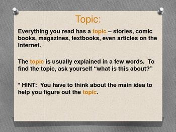 Theme, Topic, and Main Idea