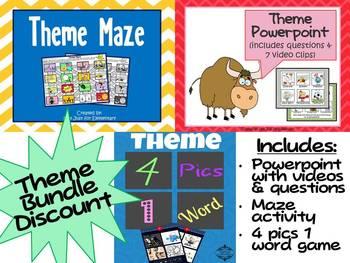 Theme Unit Bundle: Powerpoint, Questions, Videos, & Games SAVE OVER 15%