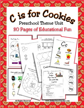 Theme Unit - C is for Cookie - Rhyming, Counting & more - Daycare Preschool