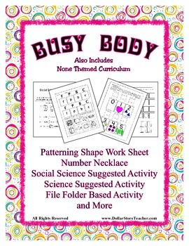 Theme Unit - My Busy Body -  Preschool & Daycare - Caring for our Growing Body