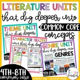 Theme Unit, Character Traits Unit, Genre Unit Bundle for Middle Grades