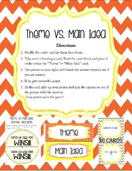 Theme VS Main Idea Card Game
