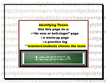 Theme Warm-up or Do Now Pages (log, bell-ringer, or practi