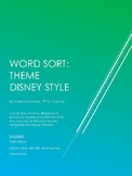 Theme Word Sort: Disney Style