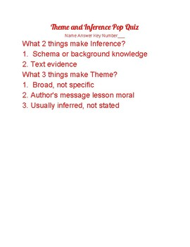 Theme and Inference Pop Quiz