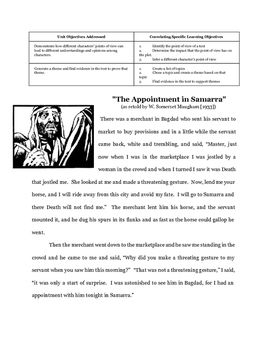 Theme and Point of View Assessment : The Appointment in Samarra
