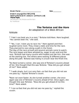 Theme and Topic LAFS.5.RL.3.9 The Tortoise and the Hare