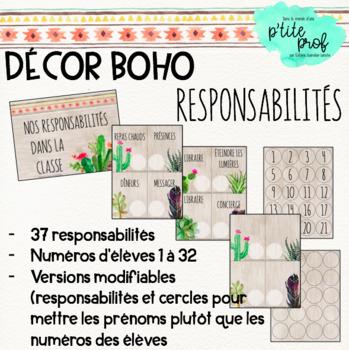 Thème boho : responsabilités des élèves