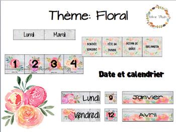 Thème floral: calendrier et date du jour