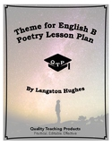 Theme for English B Poem by Langston Hughes Lesson Plans, Worksheets