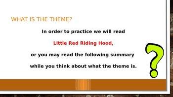 Theme, lesson, morale PowerPoint
