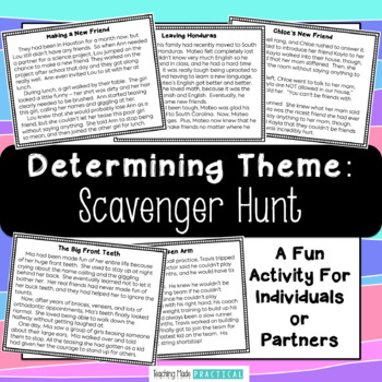 Theme of a Story Scavenger Hunt - Fun Theme Practice
