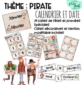 Thème pirate : Calendrier et date du jour