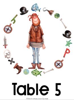 Thème pirate : Étiquettes pour les élèves