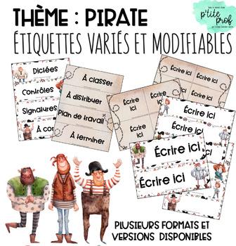 Thème pirate : Étiquettes variés et modifiables