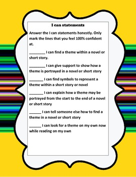 Theme project(show 1 theme throughout a book with examples)common core aligned