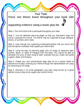 Theme-use music to symbolize one theme in a book with examples-common core
