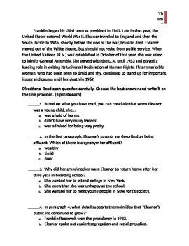 Theme vs. Main Idea Test-Special Ed