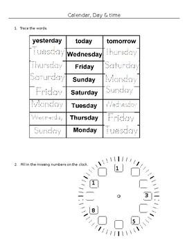 Theme worksheet - Calendar and Time