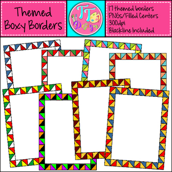 Themed Boxy Borders Set 2 Clip Art CU OK