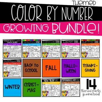 Themed Color by Number Sheets for 10 and 20 Frames GROWING BUNDLE
