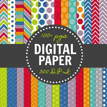 Themed Digital Paper Pack-Back to School Colors