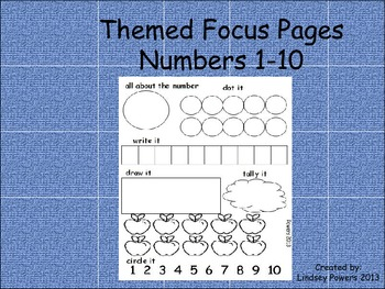 Themed Focus Pages: Numbers 1-10