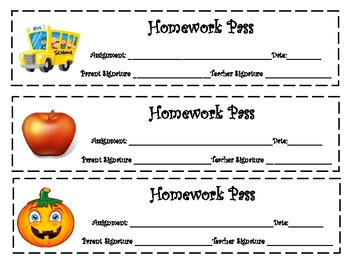 Themed Homework Passes