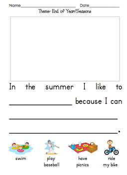 Themed Kindergarten Opinion Writing Prompts