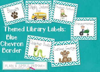 Themed Library Labels - Blue Chevron